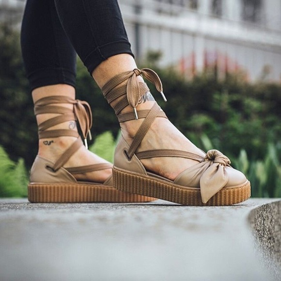 6e09a9cf Puma Shoes | New Fenty Lace Up Bow Creepers Brown | Poshmark